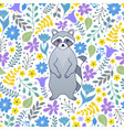 pattern with raccoon and flowers vector image vector image