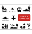 plane and aviation icons with red signboard vector image