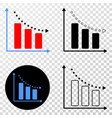 Recession bar chart eps icon with contour