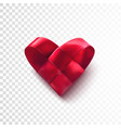 red realistic woven heart vector image vector image