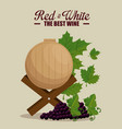 red wine barrel and grapes vector image vector image