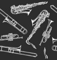 seamless pattern with woodwind and brass musical vector image vector image