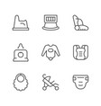 set line icons of baby goods vector image vector image