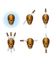 set of skulls with swords vector image