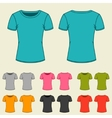 Set of templates colored t-shirts for women vector image