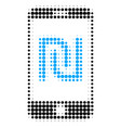 shekel mobile bank halftone dotted icon vector image vector image
