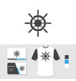 ship wheel logo design with business card and t vector image vector image