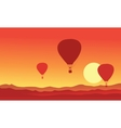 Silhouette of hot air balloon on the sunset vector image
