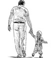 sketch a father with his little son going down vector image vector image