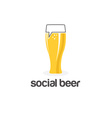 social beer glass pub design template vector image vector image