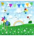 spring background with balloons and festoon vector image