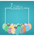 square template with lettering and different eggs vector image vector image