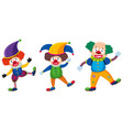 three clowns with different costumes vector image
