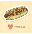 Vintage fast food background vector image vector image