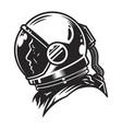 vintage monochrome cosmonaut profile view template vector image vector image