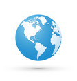 world map blue white globe america vector image