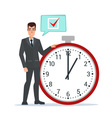 Businessman think on task list checklist stopwatch vector image