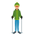 man with clothes snow hat and goggles sticks ski vector image