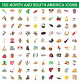 100 north and south america icons set vector image
