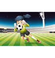 A young lady playing soccer vector image vector image