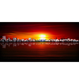 abstract red sunset background with silhouette of vector image vector image