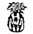 aloha hawaii typography banner pineapple sketch vector image