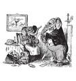 animals picnic vintage vector image vector image
