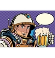 Astronaut with a mug of foaming beer vector image vector image