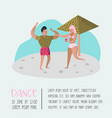 beach vacation poster woman and man relaxing vector image vector image