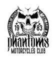 biker riders club badge motorcycle skeleton skull vector image