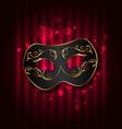 Black carnival ornate mask on glowing background