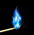 Burning match with blue flame vector image vector image