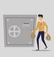 business man puts bag with money in a metal safe vector image