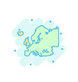 cartoon colored europe map icon in comic style vector image