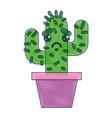 cartoon potted cactus kawaii character vector image
