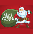 cheerful santa claus greeting christmas vector image vector image