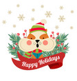 christmas poster with tree branches and squirrel vector image vector image