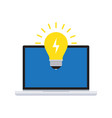 creative idea with light bulb and computer vector image vector image