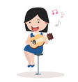 cute little girl playing guitar vector image