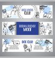 dog club banners with hand drawn dogs breeds vector image vector image