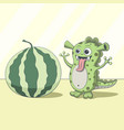 dragon looking at watermelon cartoon green alien vector image