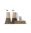 factory building with pipes and cooling towers vector image vector image