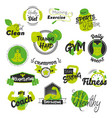 fitness and gym hand drawn logos vector image vector image