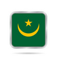 flag of mauritania metallic gray square button vector image vector image