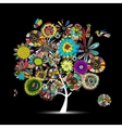 Floral tree sketch for your design vector image