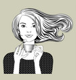 girl with loose flowing hair holding in her hands vector image vector image