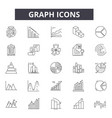 graph line icons signs set outline vector image vector image