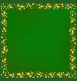 green background with frame of golden leaves vector image