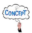 hand isolate pencil idea write blue concept vector image vector image