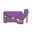 handbag high heels lipstick icon on white vector image vector image